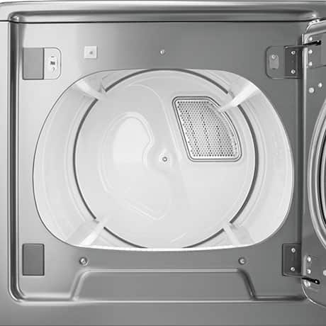 Front of the dryer with the door open showing the clean white interior.