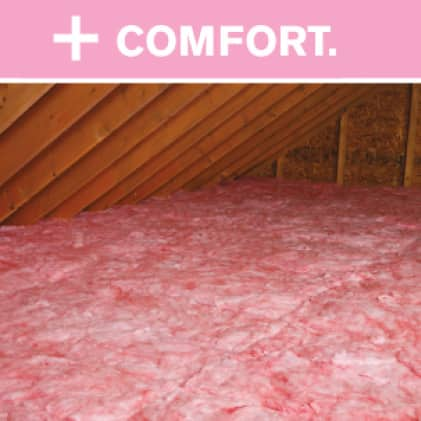 Owens Corning Pink Insulation in an attic