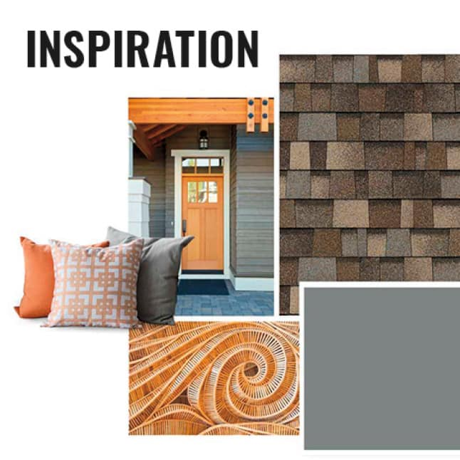 Style Board Showing Shingle with color swatch and accessories