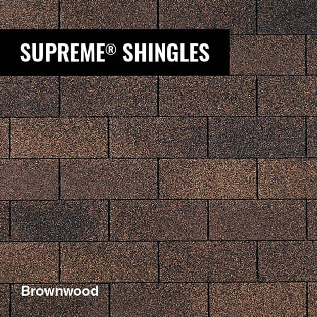 Close up of Owens Corning Supreme shingle in Brownwood
