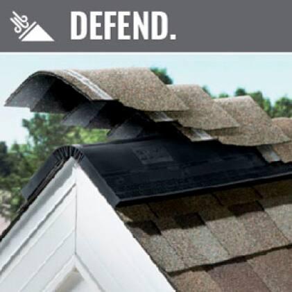 image of hip and ridge shingles on the roof ridge line