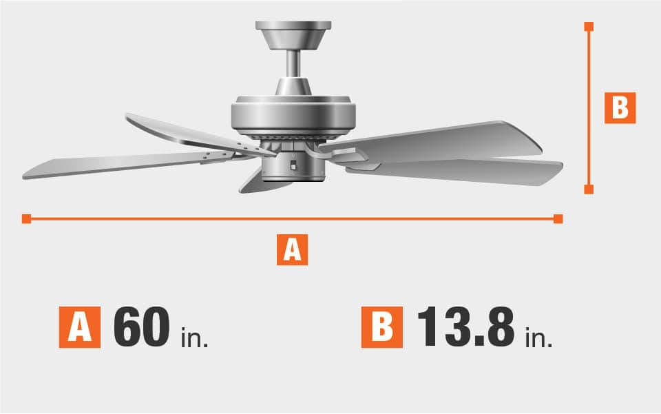 Width is 60 inches and distance from ceiling is 13.8 inches