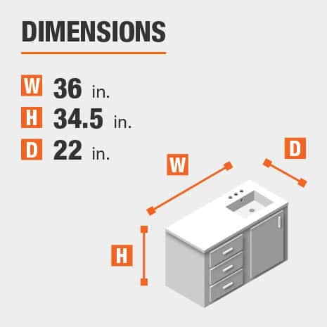 The dimensions of this bathroom vanity are 36 in. W x 34.50 in. H x 22 in. D