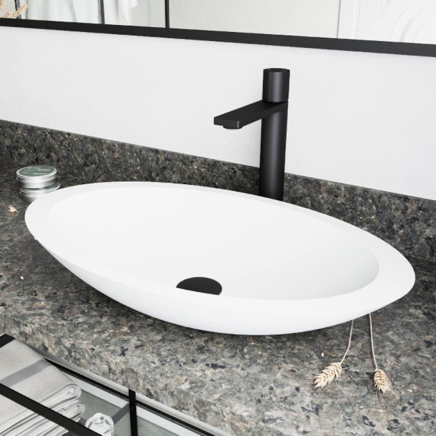 Above-counter vessel sink installation