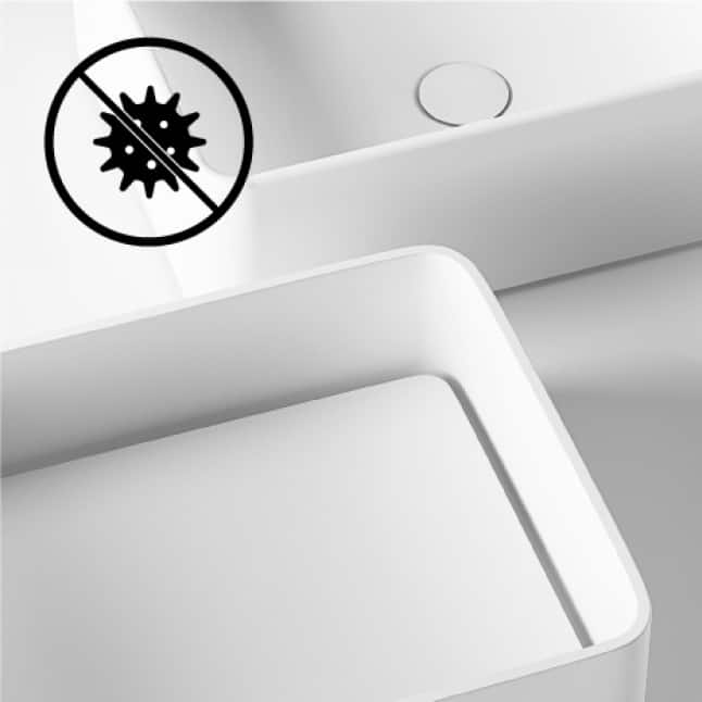Bathroom sink's composite material is naturally hygienic and resistant against bacteria
