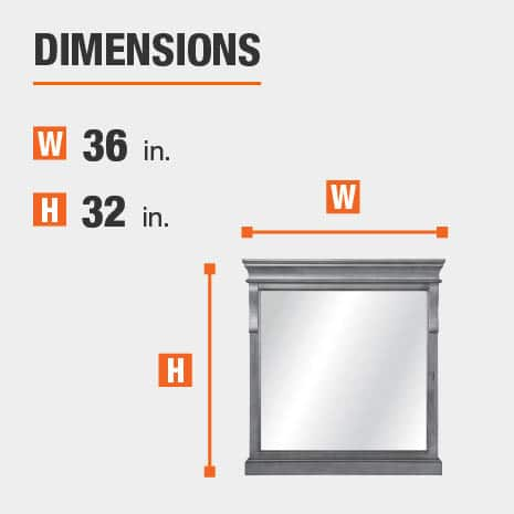The dimensions of this bathroom vanity mirror are 36 in. W x 32 in. H