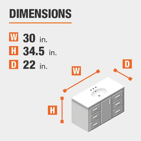 The dimensions of this bathroom vanity are 30 in. W x 34.5 in. H x 22 in. D