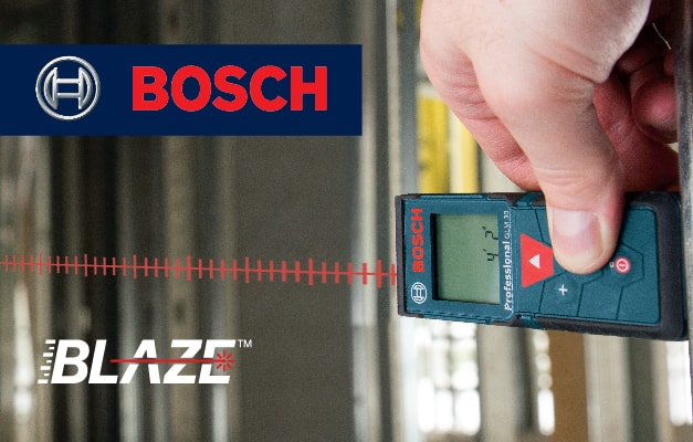 Bosch GLM 30 projecting straight line for room measurement.