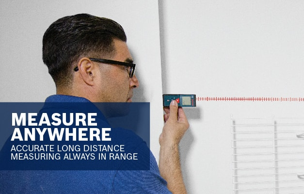 Bosch GLM 30 being used to perform accurate wall to wall measurement.