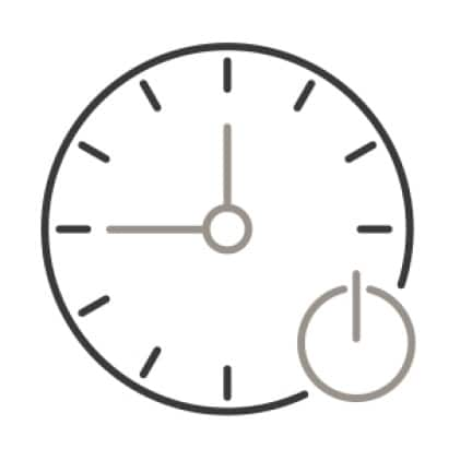 An Icon of a clock. A power on and off symbol is superimposed in the corner