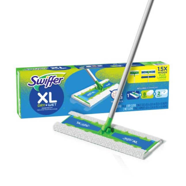 At 1.5X wider than regular Swiffer Sweeper, X-Large mop, wet & dry refills get the job done faster.