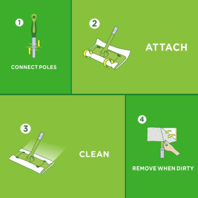 Swiffer Sweeper is easy to use. Connect the pole, attach either the wet or dry cloth, clean floors and discard.