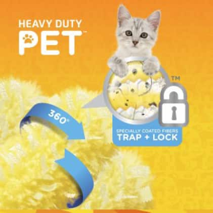 Swiffer Duster Heavy Duty Pet Refills trap and lock pet hair with added Febreze odor defense.