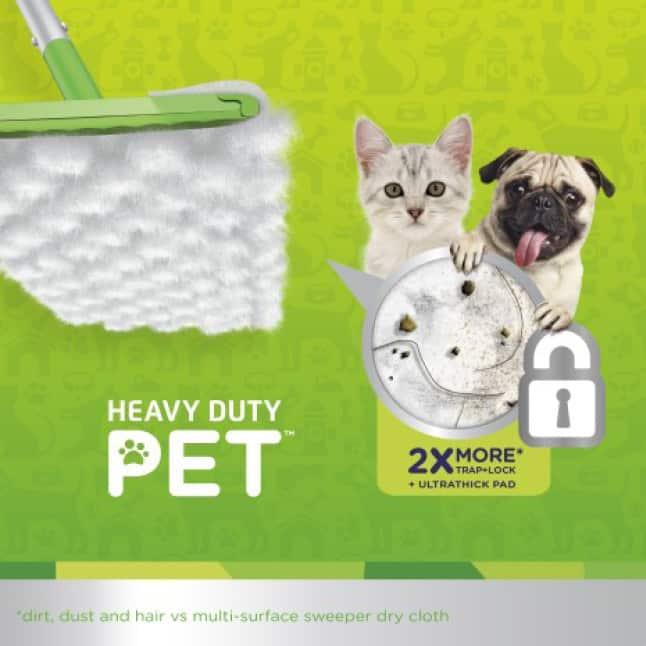Swiffer Heavy Duty Pet Refills, available in wet & dry, have added Febreze odor defense for added freshness.
