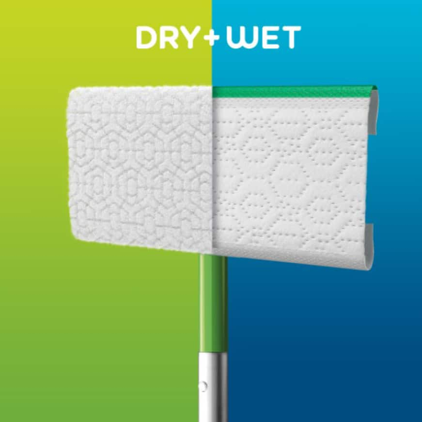 Swiffer Sweeper Floor Mop can be used with Swiffer wet or dry cloths to give you an amazing clean.