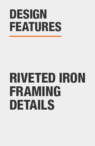 Buffet Table includes riveted iron framing details as a design feature