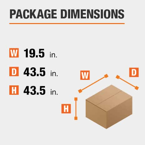Shipment package is 19.5 inches wide, 43.5 inches deep, and 43.5 inches high