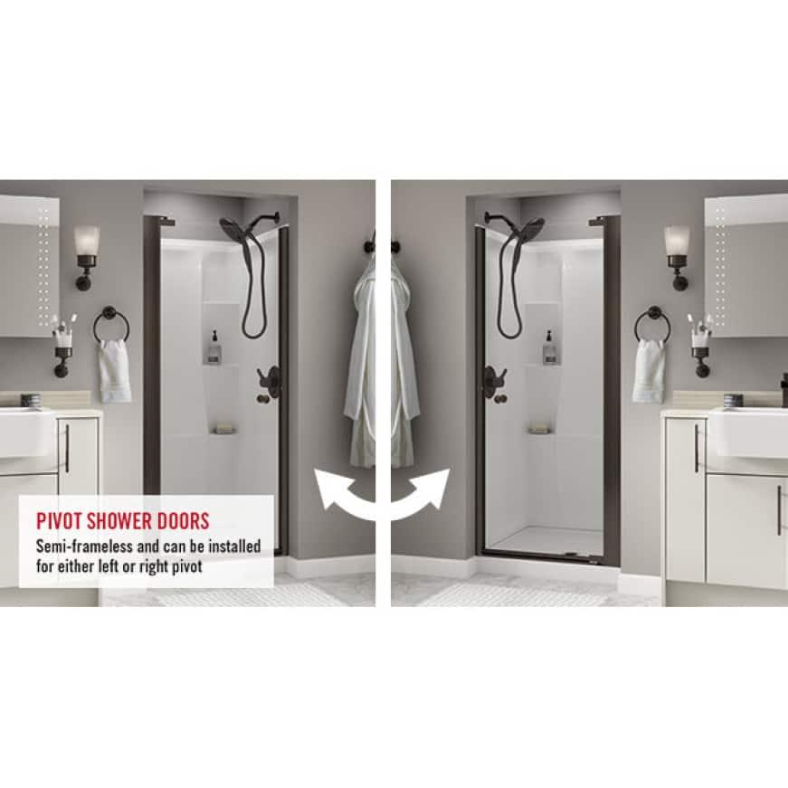 Pivot Shower Doors, Semi-Frameless, Installed Left or Right Pivot