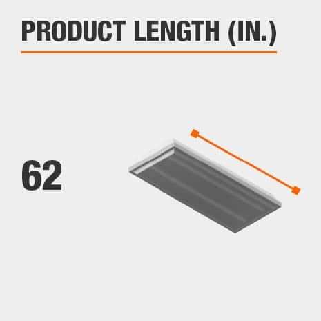 This light fixture has a length of 62 inches.