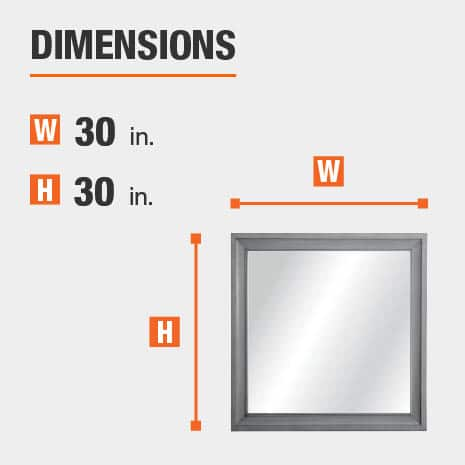 The dimensions of this bathroom vanity mirror are 30 in. W x 30 in. H