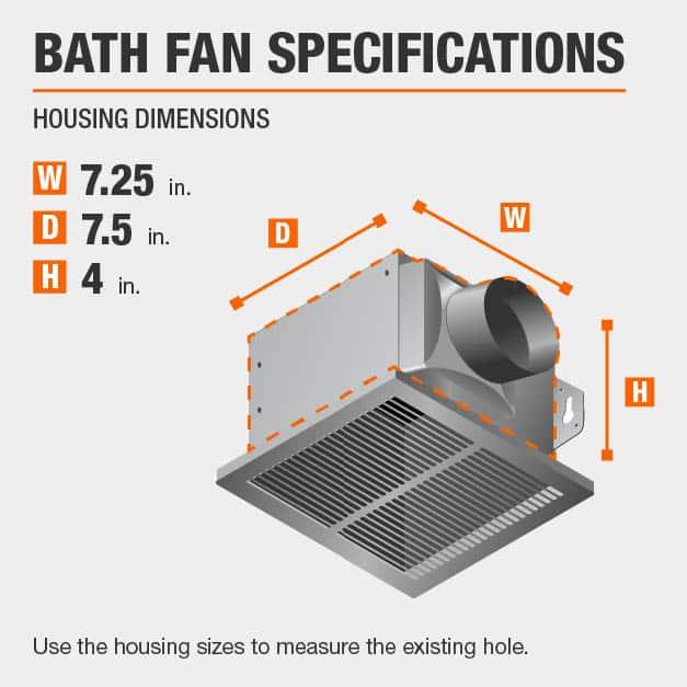This bath fan has housing specs of 7.25x7.5x4.