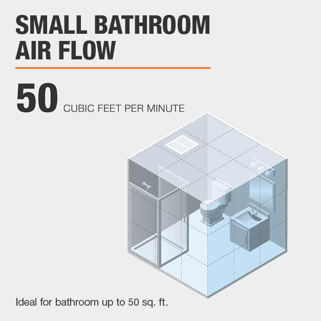 The air flow of this bath fan is under 80 cubic feet per minute at 50 CFM.
