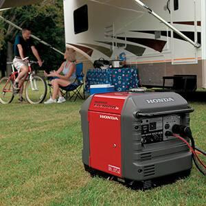 Family using Honda EU3000 generator to power their RV