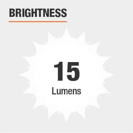 This light's brightness is 15 Lumens.