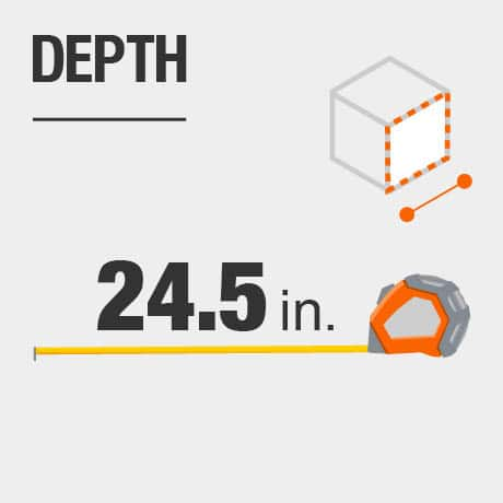Tool chest depth in inches.