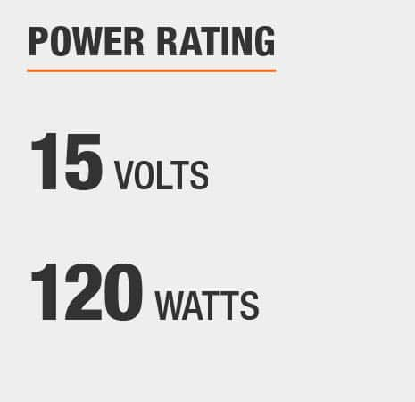 This transformer has a power rating of 15 volts and 120 watts.