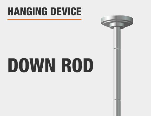 A down rod is used to hang this pendant.