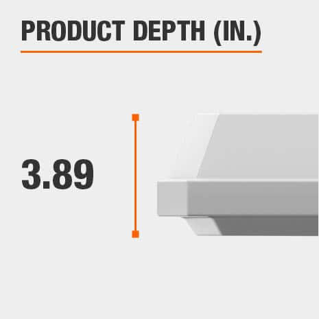 This light fixture has a depth of 3.89 inches.