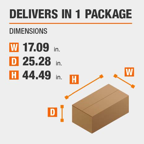 Delivers in 1 Package Dimensions of 17.09 inches wide, 25.28 inches deep, 44.49 inches high.