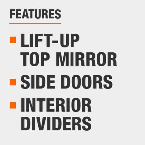 Jewelry Armoire with Lift-up Top Mirror, Side Doors, Interior Dividers