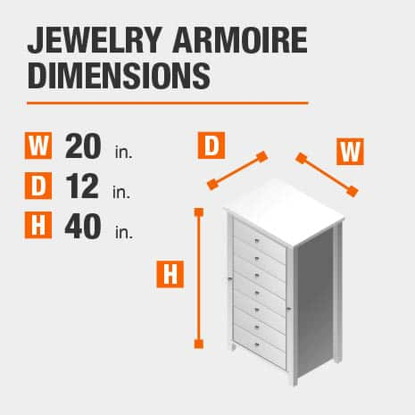 Jewelry Armoire Dimensions of 20 inches wide, 12 inches deep, 40 inches high.