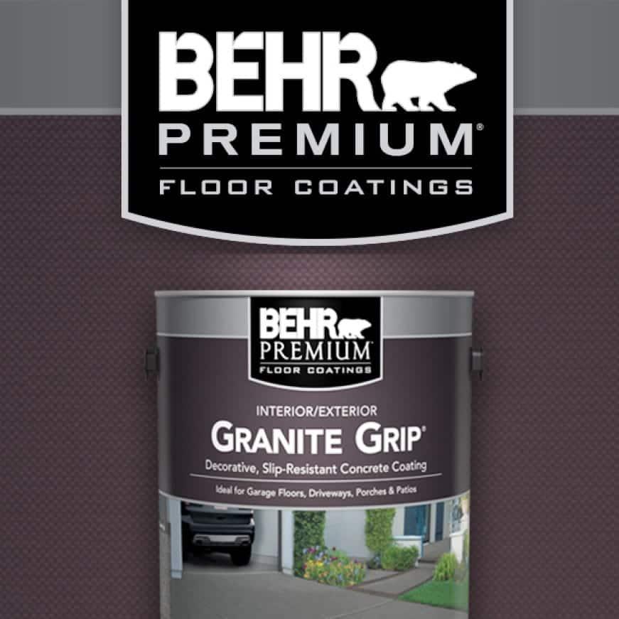 BEHR Premium Granite Grip durable, textured finish for garage floors, driveways, porches and patios