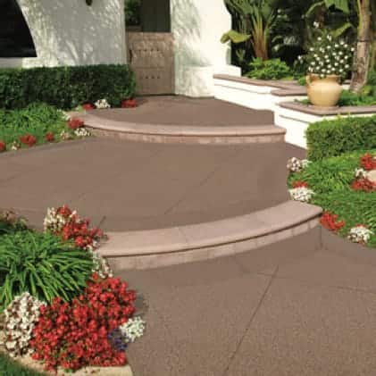 Concrete walkway steps coated with Granite Grip Tan tone color Tan NO.655