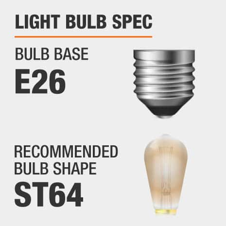 This pendant requires a E26 bulb base, and a ST64-shaped light bulb is recommended.