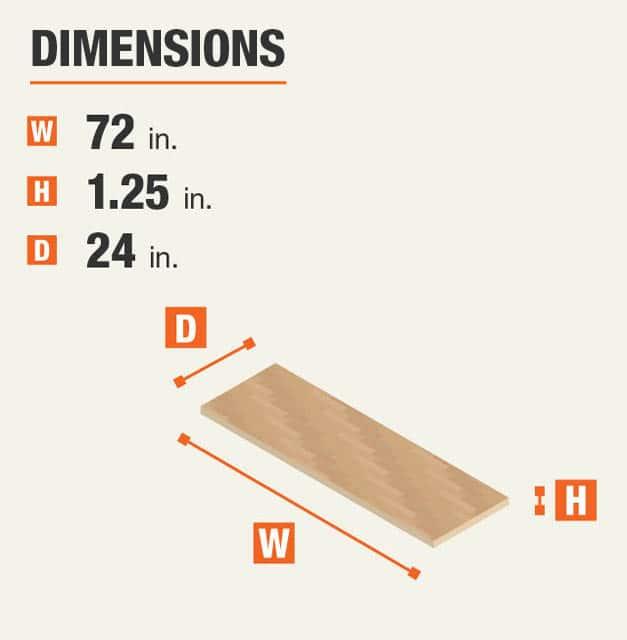 72 in. W x 1.25 in. H x 24in. D Workbench Top