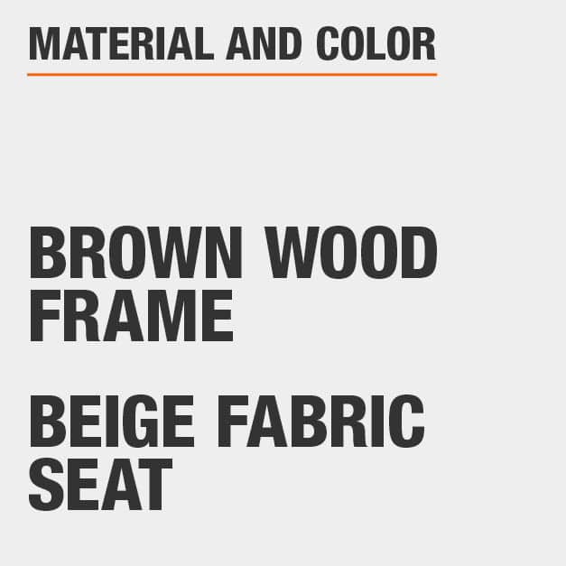 Beige Fabric Seat Brown Wood Frame Upholstered Dining Chair Set