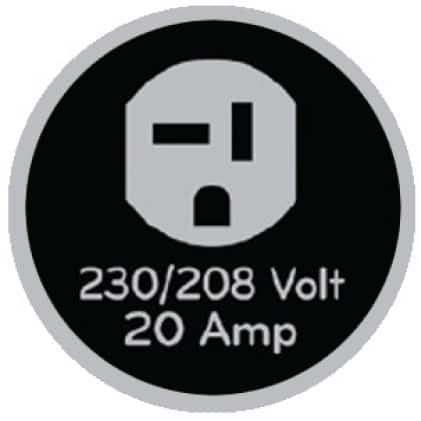 Icon of 230-volt outlet that says 230/208 volt, 20 amp