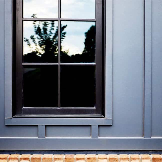 Close up of clad wood window that is low maintenance and durable