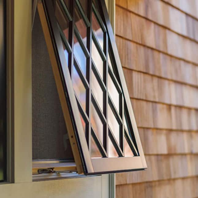 Close up of awning window that opens from the bottom