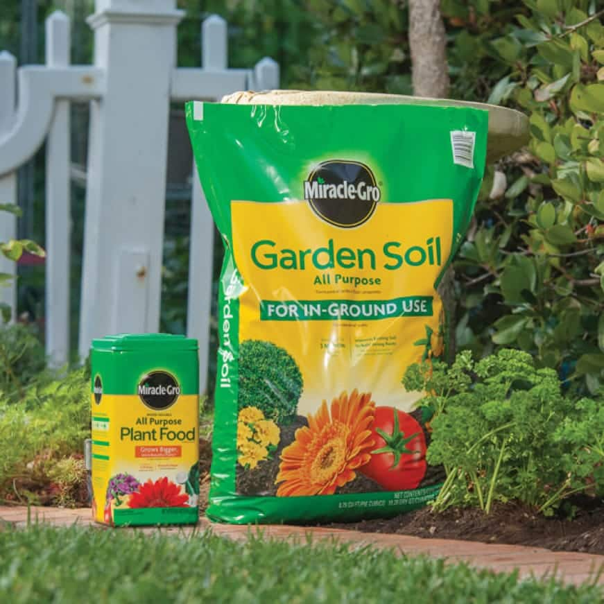 Miracle-Gro Garden Soil and Miracle-Gro All Purpose Plant Food.