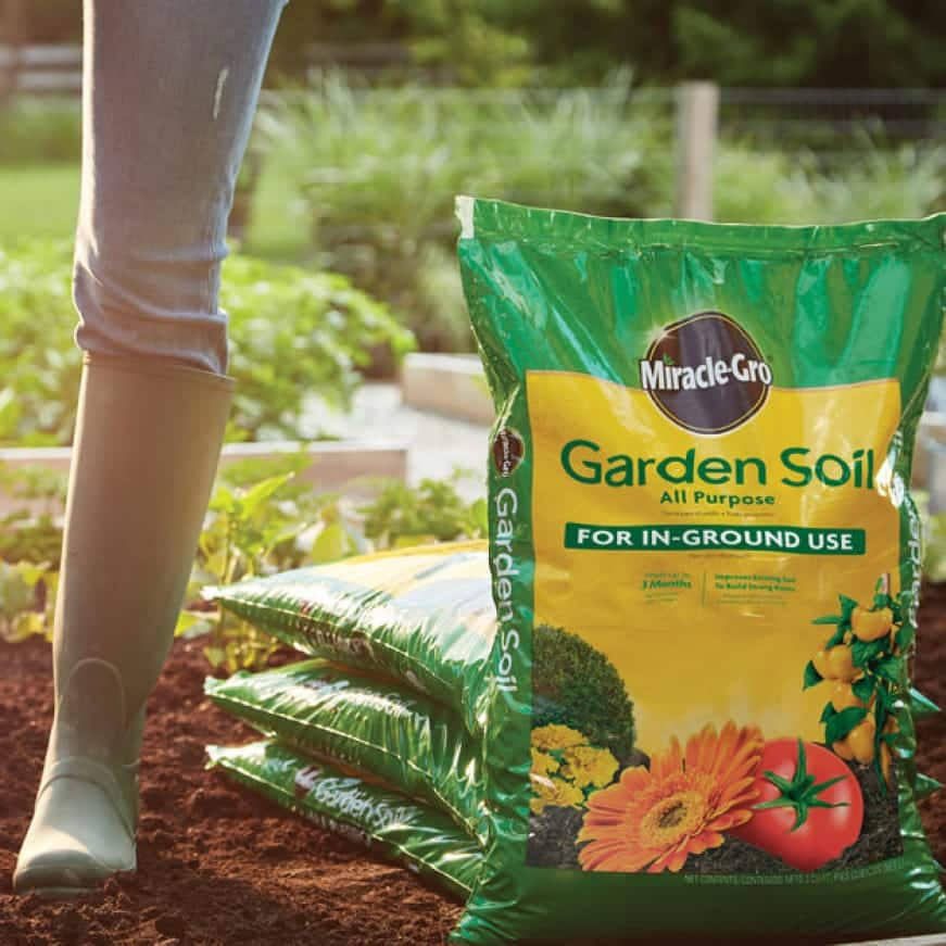 Bag of Miracle-Gro Garden Soil All Purpose For In-Ground Use.