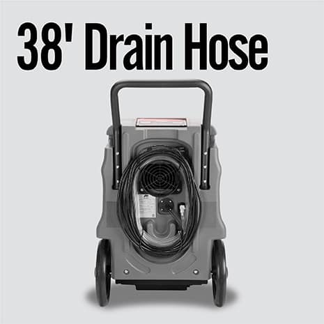 The drainage hose is included. It connects to the dehumidifier pump and is stored in the back of the unit.