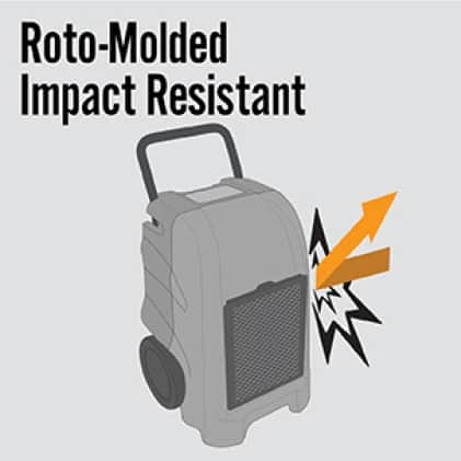 Roto-molded housing comes standard on B-Air® water damage equipment to resist impact in rough environments.
