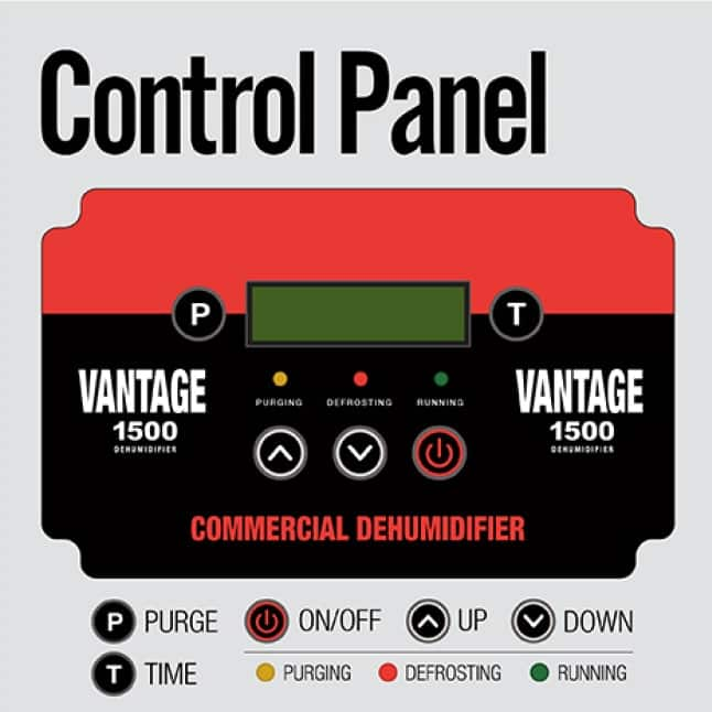 Use the digital panel to seamlessly control the operation of the B-Air® VG-1500 Commercial Dehumidifier.