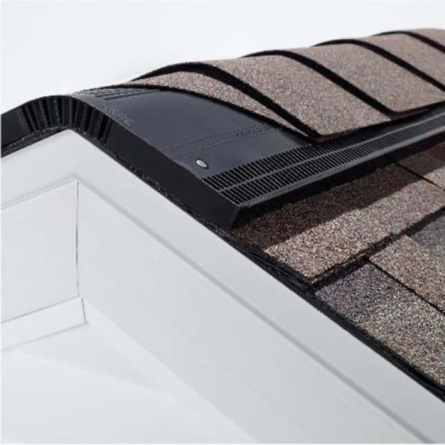 close up of Owens Corning Ridge Vent along the ridgeline of a roof