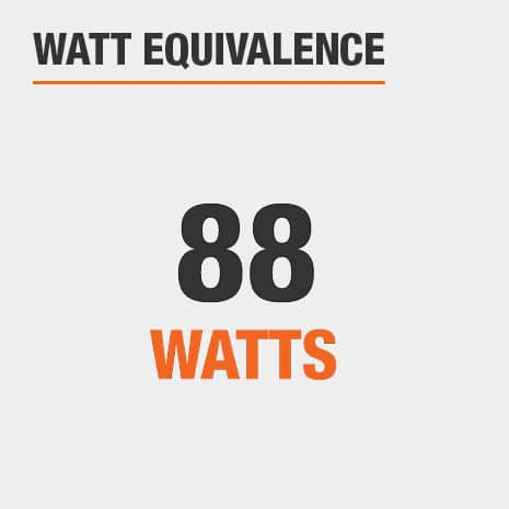 This light has a watt equivalence of 88 watts.